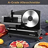 Anescra Allesschneider Elektrisch mit 170mm rostfreies Edelstahlmesser, 0-15mm einstellbare Dicke, abnehmbares Design, Brotschneidemaschine für den Heimgebrauch für Aufschnitt/Käse/Brot/Gemüse, 150W - 7