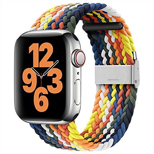 youmaofa Compatible con Correa Apple Watch 42mm 44mm, Ajustable Trenzada Estirable EláStico Deportiva Repuesto Correa con Hebilla para Iwatch Se/Series 6 5 4 3 2 1, Vistoso