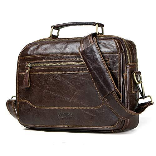 "Contacts Genuine Leather Men's Messenger Crossbody Shoulder Bag Travel 12"" iPad Handbag Coffee"