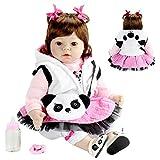 FACAIA Rebirth Doll, Realista Reborn Doll 22 Pulgadas Realista Hecho a Mano Suave Cuerpo de Juguete Reborn Baby Girl con Panda Sets