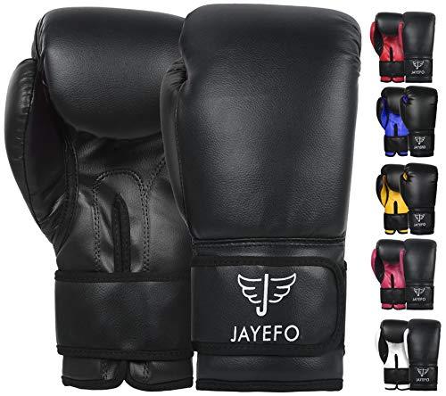 JAYEFO Beginners Leather Boxing MMA Muay Thai Gloves Kick Boxing Gloves Sparring Gloves MMA Gloves Bag Gloves (Black, 12 OZ)