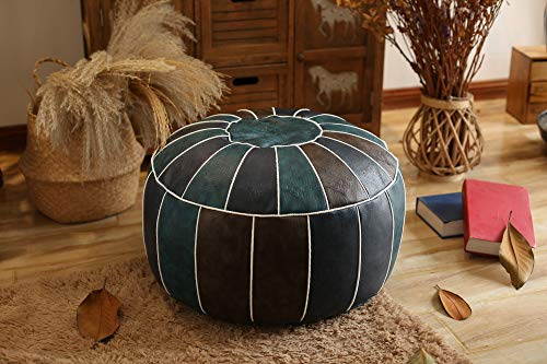 RISEON Boho Handmade Faux PU Leather Moroccan Pouf Footstool Ottoman Leather Poufs Unstuffed 23' x 11' -Round Floor Cushion Footstool for Living Room, Bedroom and Under Desk (Blue)
