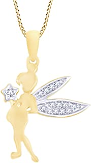 Round Cut Fairy Tinkerbell Pendant Necklace in 10K Solid Gold with White Natural Diamond Accent (0.05 Cttw)