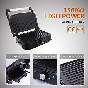 Kontaktgrill,Elektrische Tischgrills,Panini Maker,Sandwich Maker, Elektrogrill, 1500 Watt,Silber