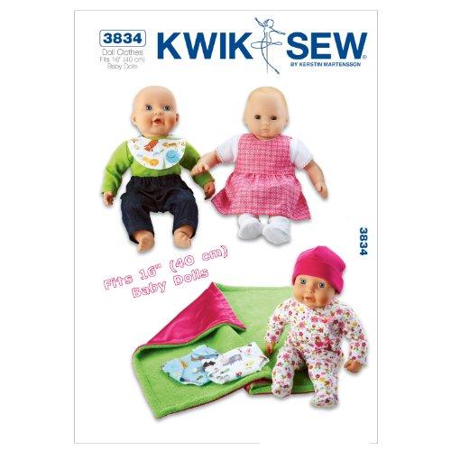 Kwik Sew Mustern K3834Größe passend für 40,6cm Baby Puppen Puppe Kleidung, weiß, 1Stück