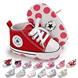 KKIIDDSS Unsex Infant Baby Boys Girls Canvas Shoes Toddler High Top Lace up Crib Soft Sole Sneakers Slip On Anti Skid Newborn First Walkers Skate Shoes (C01-Red, 0-6 Months)