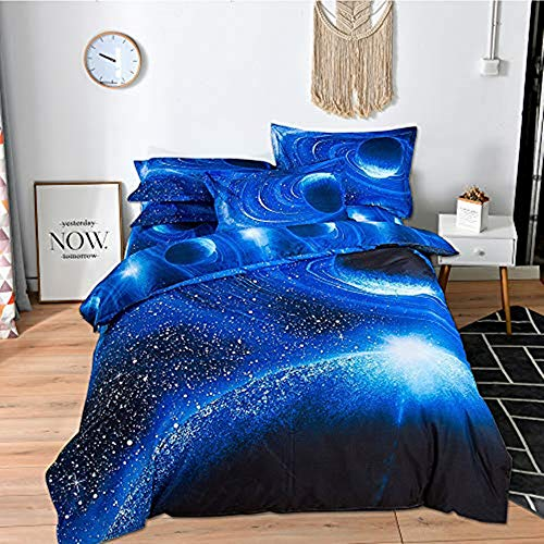 choicehot 3D Duvet Cover Sets Double Size Galaxy Space Pattern Kids Bedding Set Ultra Soft Starry Theme Quilt Cover for Boys, Kids and Teens (1 Duvet Cover + 2 Pillowcases) (Galaxy A)