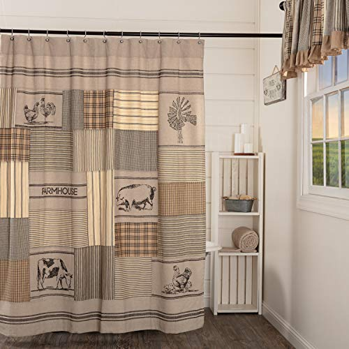 VHC Brands Sawyer Mill Shower Curtain, 72x72, Charcoal Patchwork