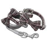 LSHMSN Collar De Perro Y Conjunto De Correas, Collar De Perro Ajustable De Nylon con Linda Corbata De Lazo A Cuadros para Pequeños Perros De Tamaño Mediano Accesorios para Mascotas,Gris,29~39cm