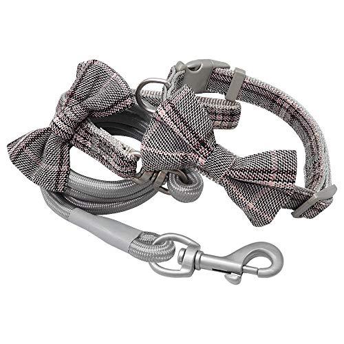 WWHPVP Nuevo Collar De Perros Y Correa, Set Collars Lindos Bowtie Perros con Correa De Pie De Mascota,Gris,24~32cm