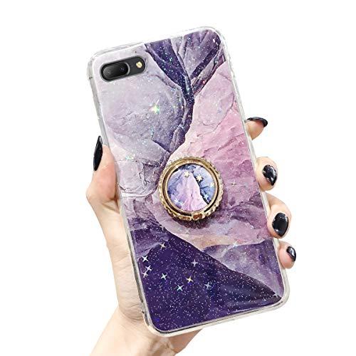 Oihxse Kompatible für iPhone 7 Plus/iPhone 8 Plus Hülle Silikon Marmor Muster Case Flexible mit Diamant 360 Grad Ständer Schutzhülle Stossfest Bumper TPU Handyhülle,Entworfen für Mädchen (7A)