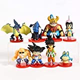 Cheaaff KY FJKYF Anime Modelo estatuadragon Ball Z niño Hijo Goku Chichi Ox King Kame Sennin Yamcha Pual PVC Figuras Juguetes 8 unids / Set 4-8Cm