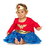 DC Comics Baby Wonder Woman Infant Girls' Costume Dress with Tiara and Cape, Red/Blue, 18 Months
