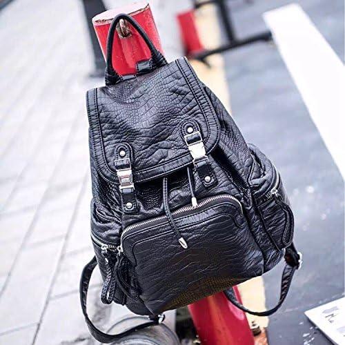 Aus gewaschenem Leder Umh etaschen Freizeitaktivit n 100 Runden Weißen Leder Tasche einfach Retro street Rucksack, Schwarz