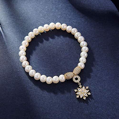 TETHYSUN Ladies Bracelet Pulsera Estilo estático Pulsera Blanca Copo de Nieve Colgante Pulsera Accesorios Mujeres Moda Forme Día de San Valentín Regalo para Novia Mujeres
