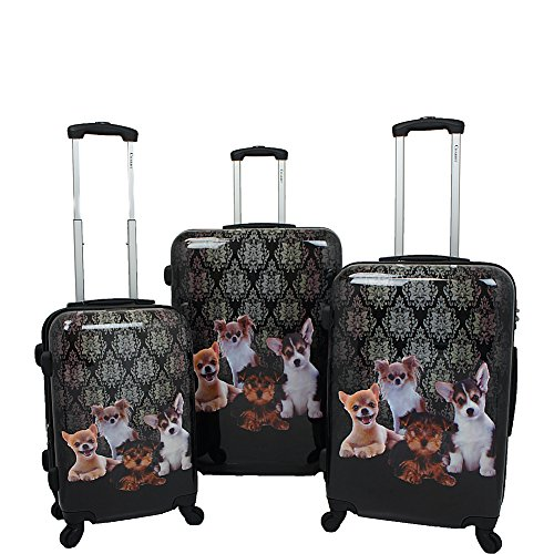 Chariot Doggies 3-piece Hardside Lightweight Upright Spinner Luggage Set, One Size