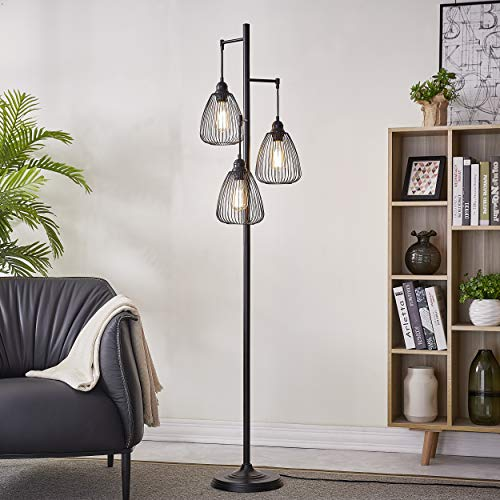 Black Industrial Floor Lamp for Living Room Modern Floor Lighting Rustic Tall Stand Up Lamp Vintage Farmhouse Tree Floor Lamps for Bedrooms, Office Torchiere Standing Lamp 3 Light Bulbs Included