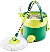 JUAN 360°Spin Mop with Stainless Steel Bucket System Extended Length Handle&2 Microfiber Mop Heads,Spin Mop Bucket System,...