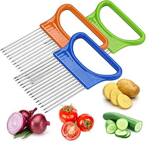 Cortador de verduras de cebolla de tomate, soporte de ayuda de corte, estante de cebolla de acero inoxidable, cuchillo de tomate vegetal, tenedor de cebolla, cortador de verduras de limón de cebolla