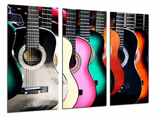 Cuadro Fotográfico Guitarras Españolas de colores, Flamenco Tamaño total: 97 x 62 cm XXL