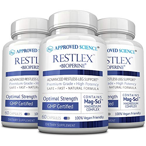 Approved Science® Restlex - Natural Restless Leg Relief - 420 mg Magnesium Glycinate Blend, L-theanine 200 mg - 60 Capsules Per Bottle - 3 Bottles