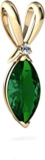 14kt Gold Lab Emerald and Diamond 10x5mm Marquise Marquise Pendant