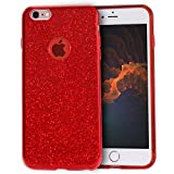 MATEPROX iPhone 6s Plus Case iPhone 6 Plus Case Glitter Slim Crystal Bling 3 Layer Hybrid Protective Case for iPhone 6s/6 Plus 5.5'' (Red)