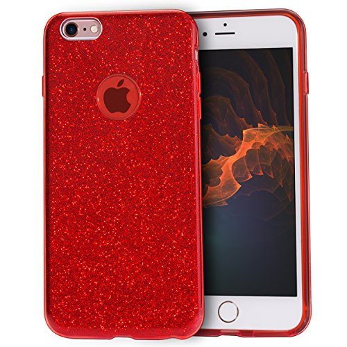 MATEPROX iPhone 6s Case iPhone 6 Case Glitter Slim Bling Crystal Clear 3 Layer Hybrid Protective Case for iPhone 6s/6 4.7 inch (Red)