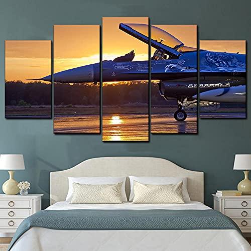 KOPASD Art Enlienzo Póster Aeronveniente Militar Amanecer 5 Piezas Pared Mural para Decoracion Cuadros Modernos Salon Dormitorio Comedor Cuadro Impresión Piezasmaterial