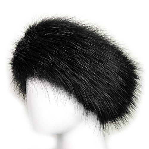 Pelliccia ecologica di lusso doppia fascia per testa posteriori elastiche Nero