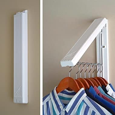 QuikCLOSET The Original InstaHANGER Model AH12/M White – Folding Collapsible Wall Mounted Clothes Storage/Drying Rack