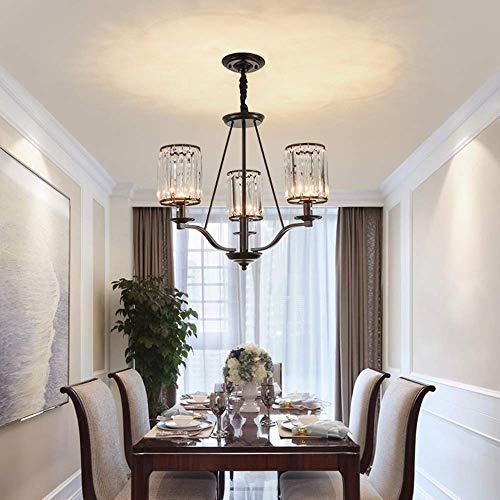 GANG Hierro Craft Crystal Chandelier Cálido Luz Negro Led Lámpara de Techo Lámpara de Estar Sala de Estar Dormitorio Salón Porche Φ57 × 55Cm proteger los ojos