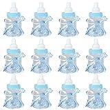 EBTOOLS 12Pcs Baby Shower Favors Bottle, Candy Chocolate Bottles Box Baby Shower Bottle for Girl Boy Baby Shower Party Favors Candy Bottle Gift Decorations (Blue)