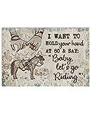 MG global -Caballo Niña - Bebé Let's Go Riding- Regalo para Vaqueros, Vaqueras - Arte de pared sin marco