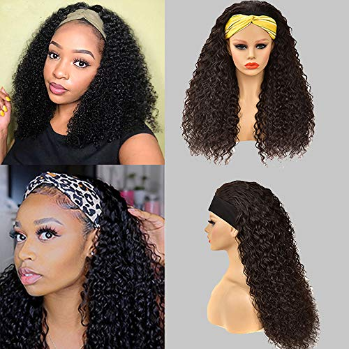 Water Wave Headband Wig for Black Women Virgin Remy Human Hair Wigs Glueless Machine Wigs Easy Wear Band Wig Wet and Wavy None Lace Front Wigs 150% Density Deep Curly Headband Wigs Wlily Hair(18inch)