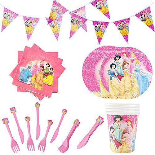SUNSK Princess Cumpleaños Vajilla Decoraciones para Fiestas Princesa Desechable Plato Papel Servilleta Tenedor Taza Party Suministros 61 Piezas