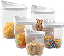 5pcs Food Storage Box Clear Container Set With Pour Lids Kitchen Food Sealed Snacks Dried Fruit Grains Tank Storage Cereal...