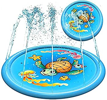 Splash Pad Water Toy Sprinkler Mat Pool for Kids Toddlers 68  Outdoor Summer Toys Kiddie Baby Swimming Pools - Fun Backyard Trampoline Lawn Games Infant Wading Pool Slide Water Play for Ages 1 - 12