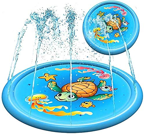 Splash Pad Water Toy Sprinkler Mat Pool for Kids Toddlers 68' Outdoor Summer Toys Kiddie Baby Swimming Pools - Fun Backyard Trampoline Lawn Games Infant Wading Pool Slide, Water Play for Ages 1 - 12