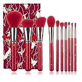 Harmonious Juego de 10 brochas de maquillaje profesionales de color rojo y negro, con bolsa de almacenamiento, grandes brochas para sombra de ojos, portátiles (rojo rojo)