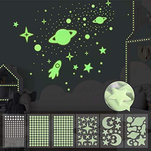 Yosemy Luminoso Pegatinas de Pared Luna Estrellas Cohetes 6 Piezas Fluorescente Pegatinas de Pared para Bebé Niños Fluorescente Adhesivos Decoración Dormitorio