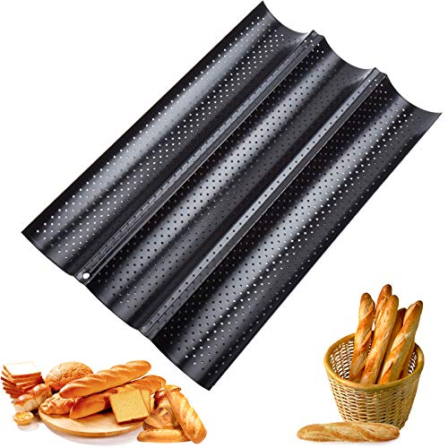 QTTO Baguette-Backblech, Baguette Backform für 3 Baguettes, Baguetteblech mit Hochwertiger Antihaftbeschichtung, Brötchen Backform mit Gut Wärmeleitung, 38 x 24.5 cm Baguetteform, Backblech Blech