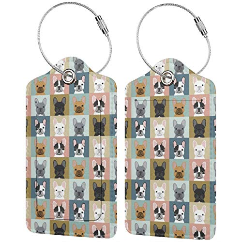 Bulldog Collage Personalized Leather Luxury Suitcase Tag Set Travel Accessories Luggage Tags