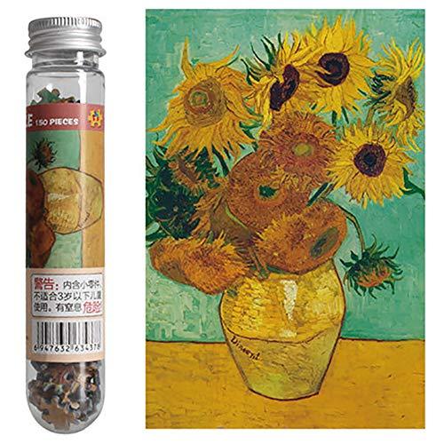 Mini puzzle in provetta, 150 pezzi, motivo: dipinto a olio (I Girasoli), per adulti e bambini.