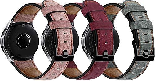 Genuinos Correas de Reloj Compatible con Galaxy Watch 46mm / Watch 3 45mm / Gear Live, Cuero de Liberación Rápida Correa de Reloj (22mm, 3PCS D)