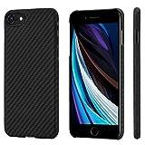 「PITAKA」MagEZ Case iPhone SE 第2世代 対応 ケース 2020新型 アラミド繊維 超薄 超軽量 耐衝撃 ワイヤレス充電対応 (黒/グレーツイル柄)