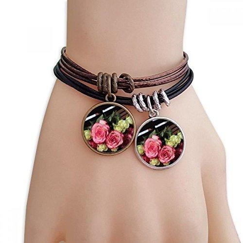 DIYthinker Womens roze witte bloemen mooie bank armband dubbele lederen touw polsband paar set