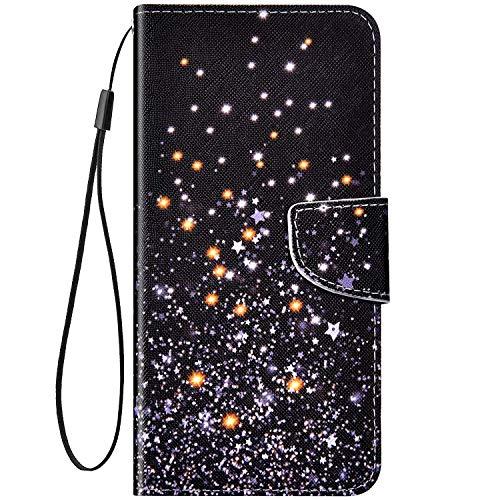 Kompatibel mit Huawei Honor 8X Lederhülle, Bunt Sterne Muster PU Leder Tasche Magnetish Klapphülle Stoßfest Schutzhülle mit Kartenfach Brieftasche Ständer Flipcase Handyhülle für Huawei Honor 8X
