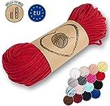 Amazinggirl Hilo Macrame 5 mm trapillo bobinas - Cuerda Algodon Cordon para Trenzado Tejer a Crochet Manualidades Rojo