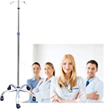 Konmee Portable Rolling IV Pole IV Stand 2 Hook 5 Legs with Adjustable Height Display Stand Rack, Stainless Steel